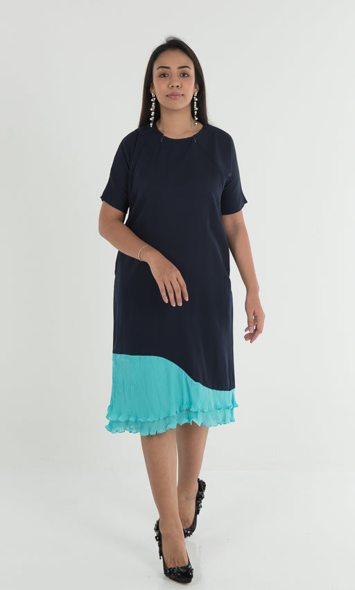 Auphoria Pleated Dress - Navy Turquoise - RoseValley
