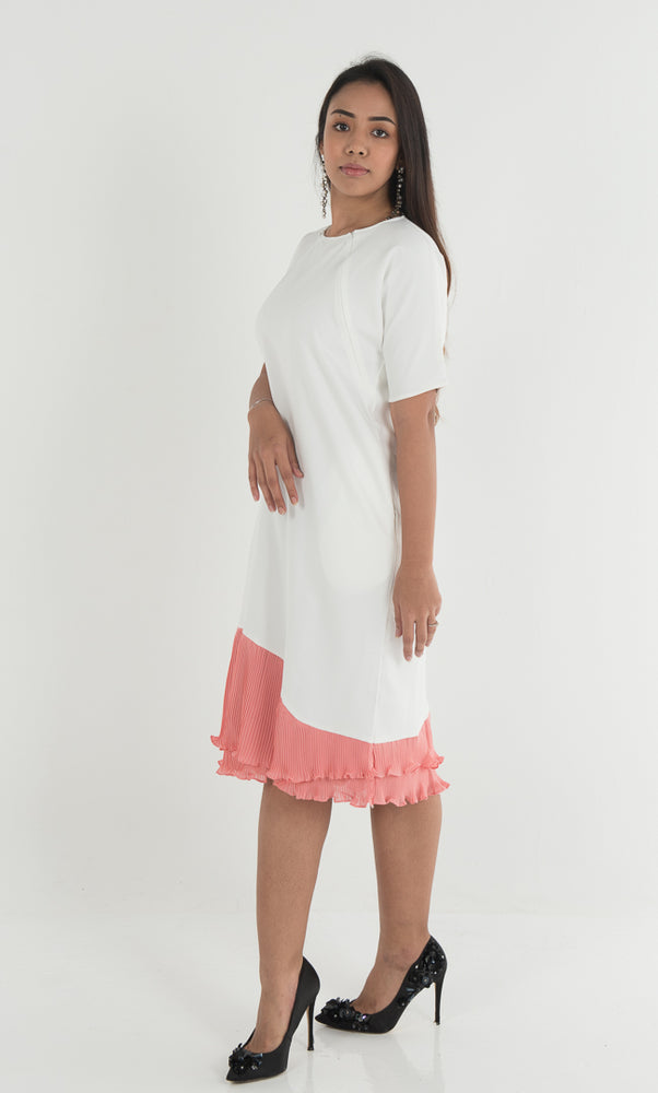 Auphoria Pleated Dress - White Coral - RoseValley
