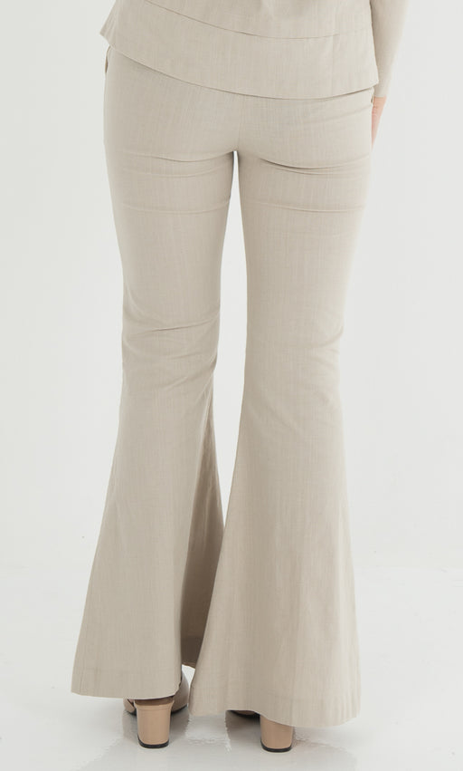 Bell Bottom Pants in Nude - RoseValley