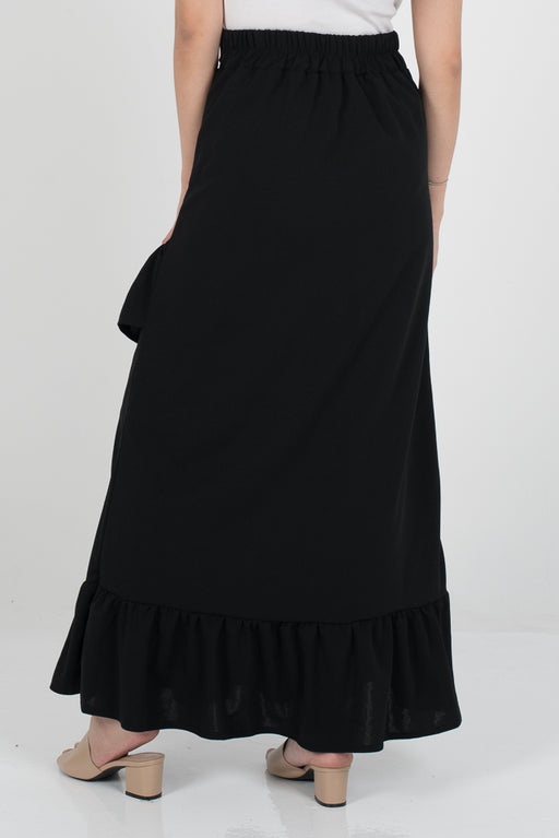 Tania Ruffle Skirt - Black - RoseValley