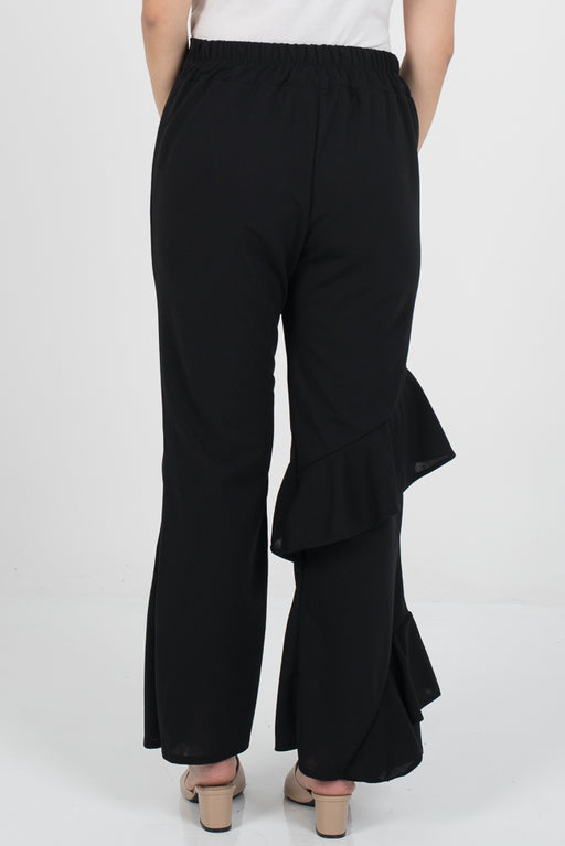 Hanna Ruffle Pants - Black - RoseValley