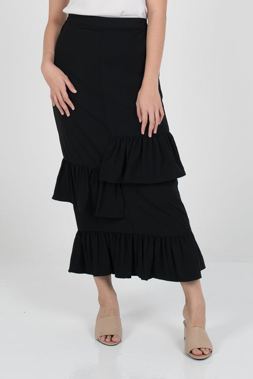 Dalina Tier Skirt - Black - RoseValley