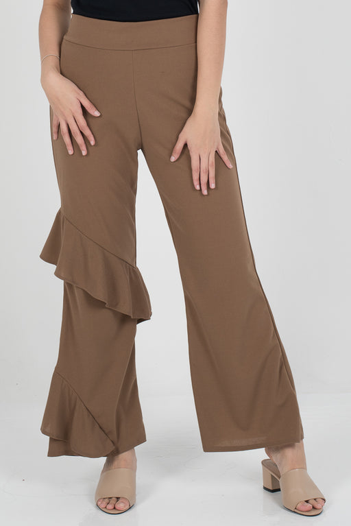 Hanna Ruffle Pants - Brown - RoseValley