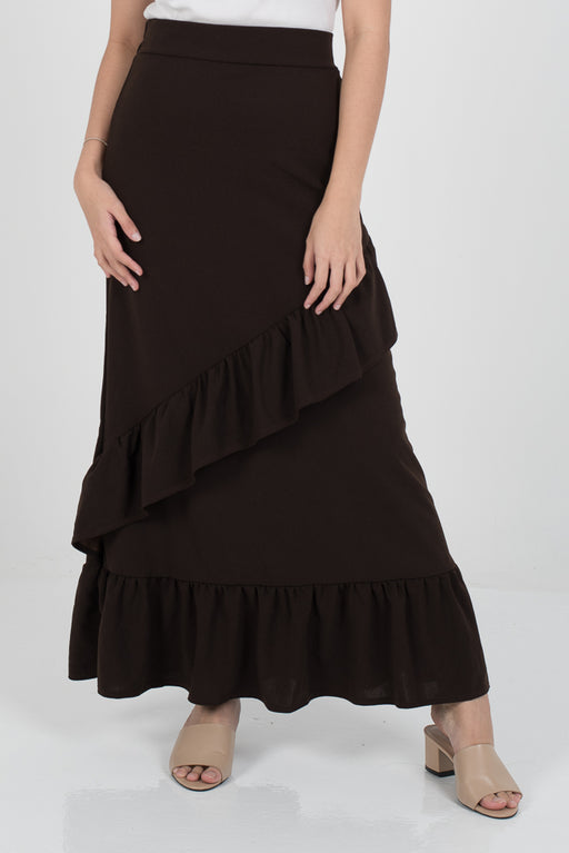 Tania Ruffle Skirt - Dark Brown - RoseValley