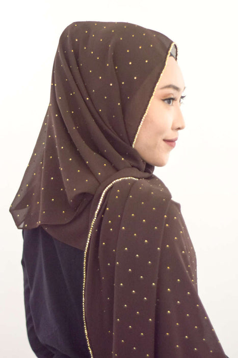 Gold Diamante Premium Chiffon - Dark Brown - RoseValley