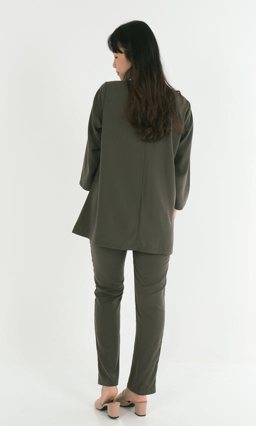 Double Sided Button Top and Tapered Pants Set in Green - RoseValley