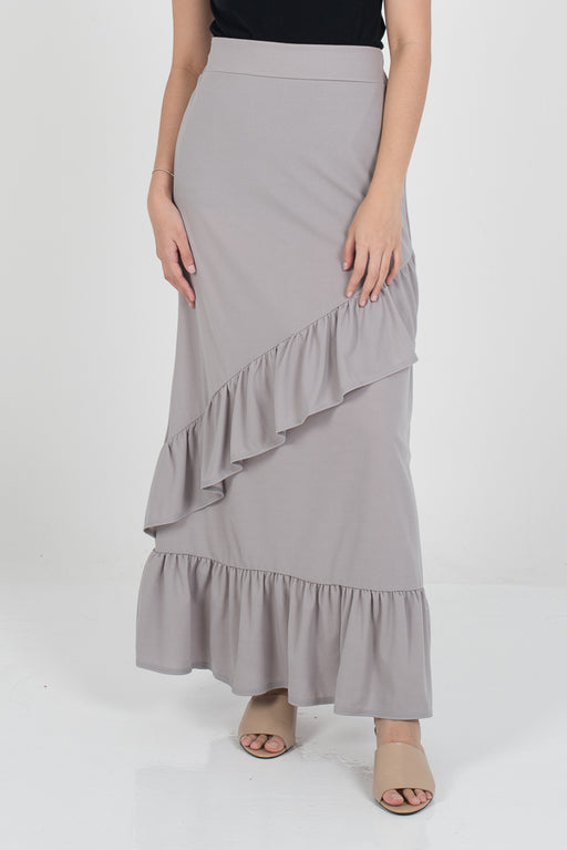 Tania Ruffle Skirt - Grey - RoseValley