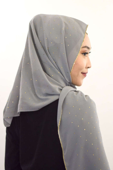 Gold Diamante Premium Chiffon - Grey - RoseValley