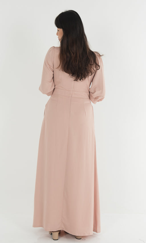 Knotted Dress in Nude - RoseValley