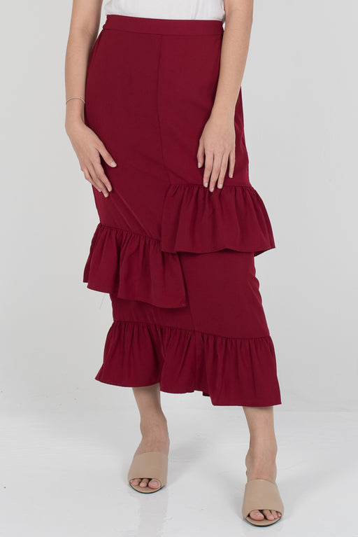 Dalina Tier Skirt - Maroon - RoseValley