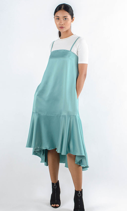 Monas Asymmetrical Slip Dress - Faded Mint - RoseValley
