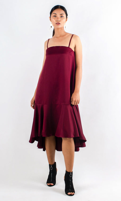 Monas Asymmetrical Slip Dress - Wine Red - RoseValley