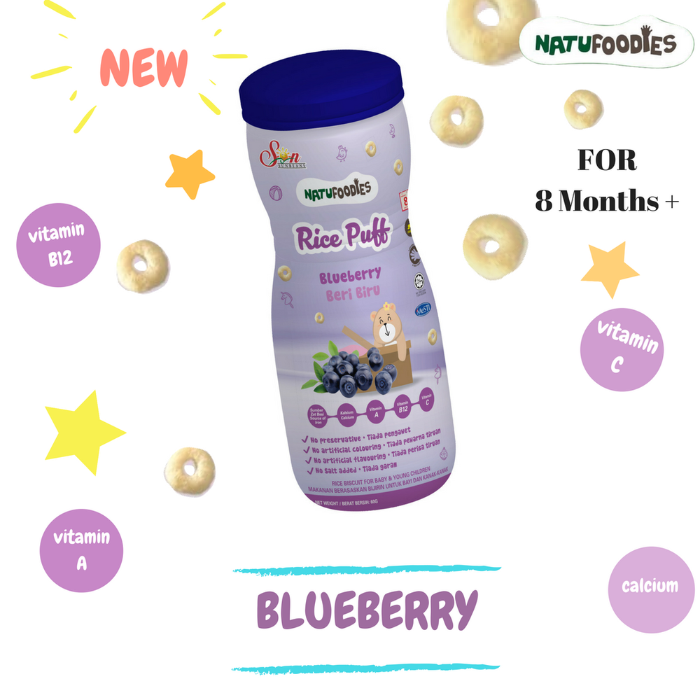 Natufoodies Rice Puff - Blueberry - RoseValley