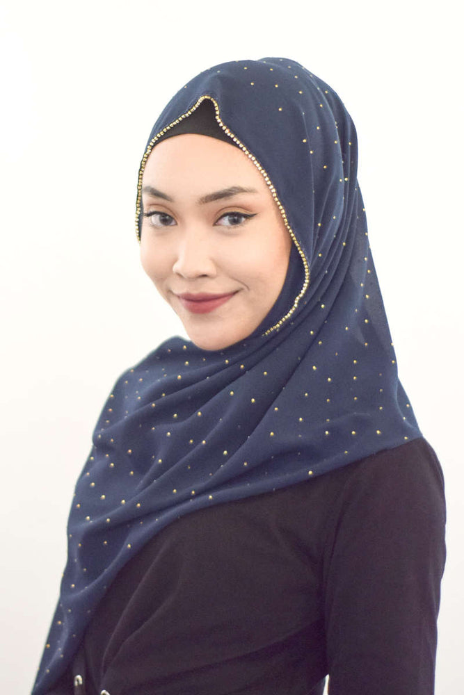 Gold Diamante Premium Chiffon - Navy Blue - RoseValley