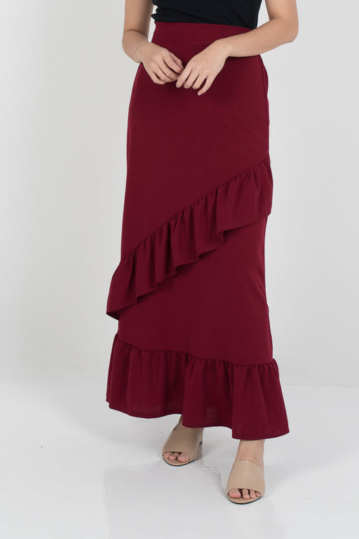 Tania Ruffle Skirt - Red - RoseValley