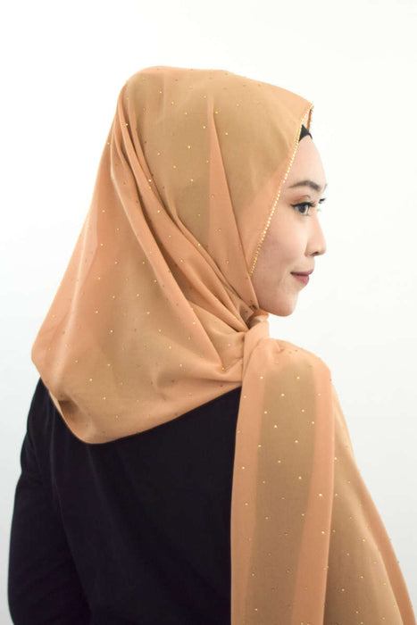 Gold Diamante Premium Chiffon - Sand - RoseValley