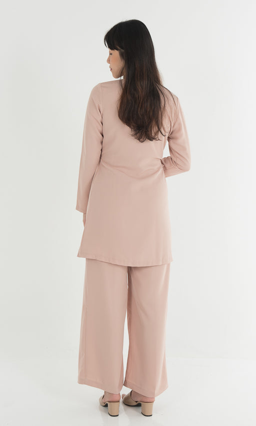 Side Knotted Top and Wide Legged Pants Set in Nude - RoseValley