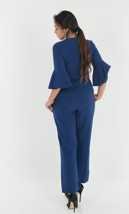 Wallace Ruffle Sleeve Jumpsuit - Berry Blue - RoseValley