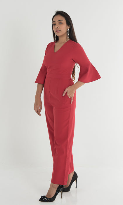 Wallace Ruffle Sleeve Jumpsuit - Red - RoseValley