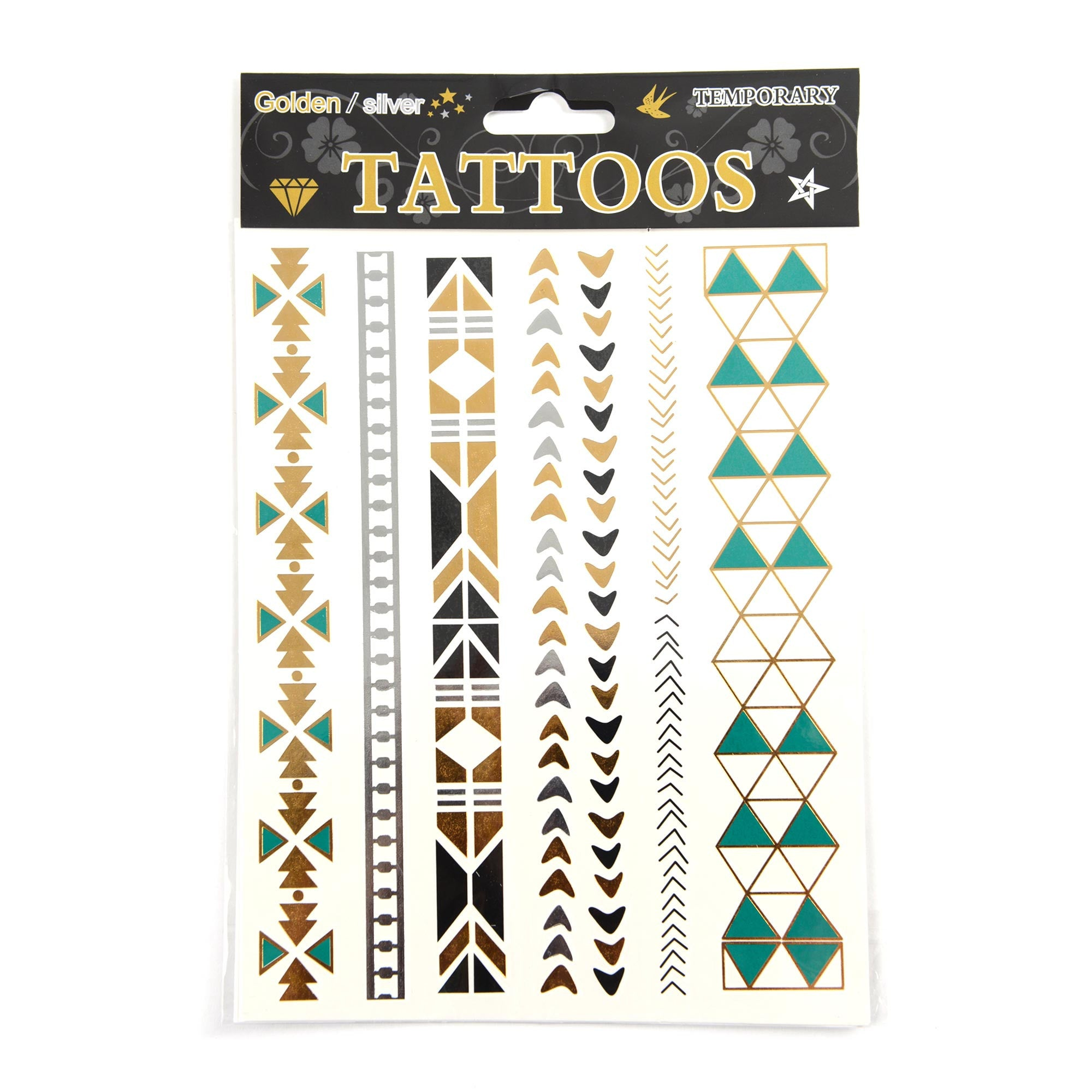 Temporary Tattoos Goud/ Zilver/ Emerald - Cosmetic Outlet  - 1