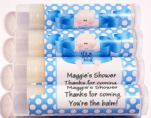 Its a boy baby shower lip balm
