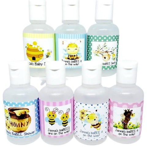 Personalized bee baby shower hand sanitizer favors