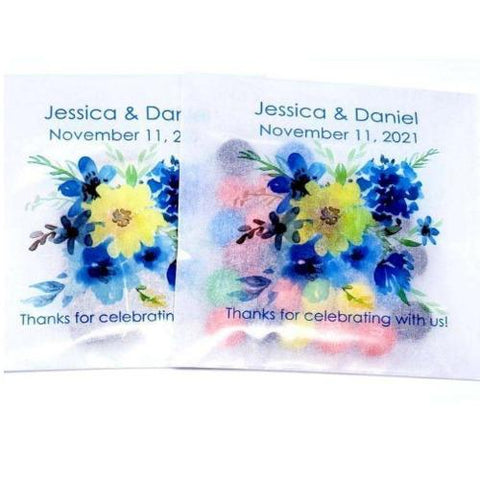 personalized blue flower favor bags