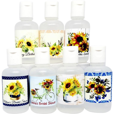 Personalized sunflower hand sanitizer favors