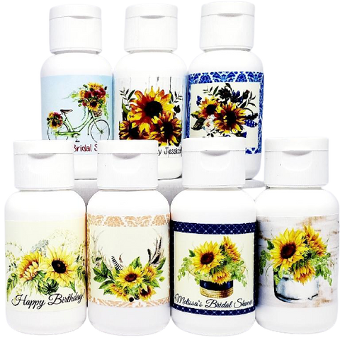 Personalized sunflower bridal shower wedding and baby shower lotion favors