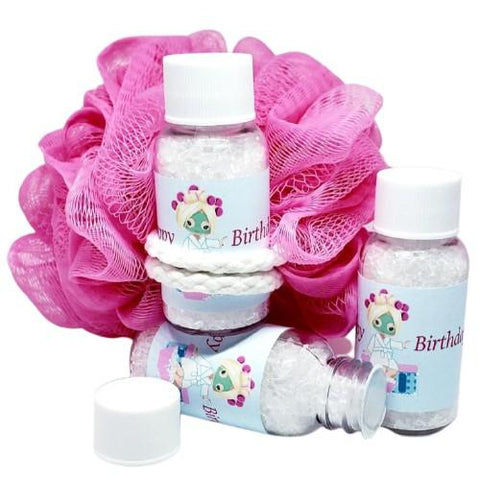 Personalized spa birthday party bath salt favors
