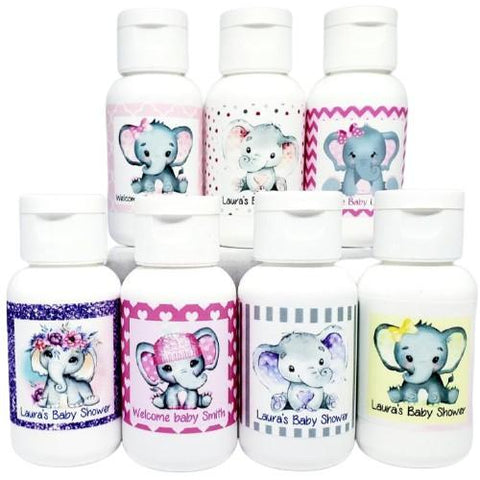 Personalized pink elephant baby shower lotion favors