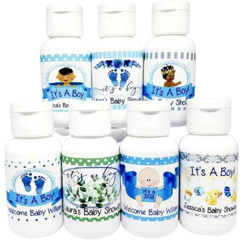 Personalized boy baby shower lotion favors