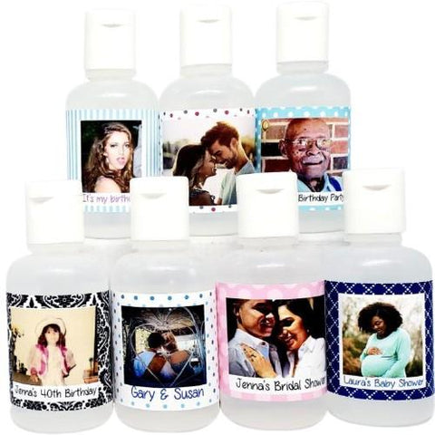 Personalized photograph bridal shower and wedding hand sanitizer favors