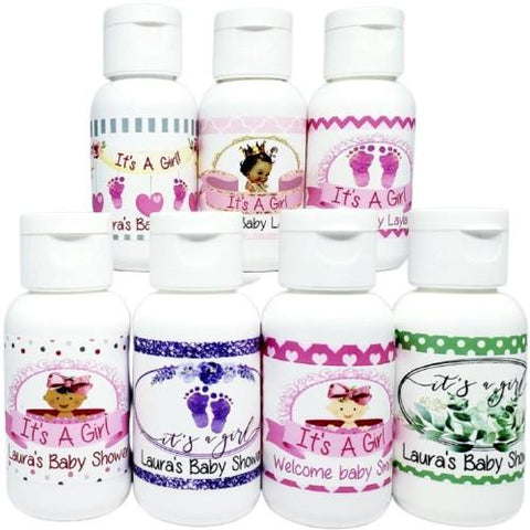 Personalized girl baby shower lotion favors