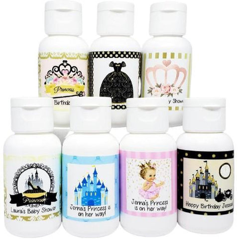 Personalized princess baby shower lotion favors