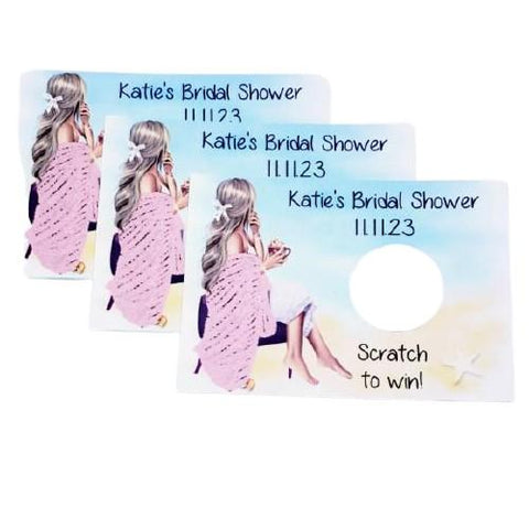 Personalized bridal shower scratch off game cards