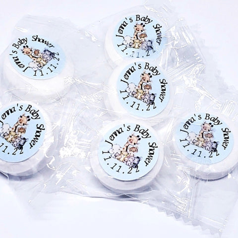 Personalized safari animals baby shower mint and lifesaver favors