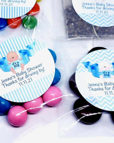 Personalized its a boy baby shower favor bags