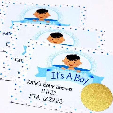 Personalized baby shower scratch off game cards