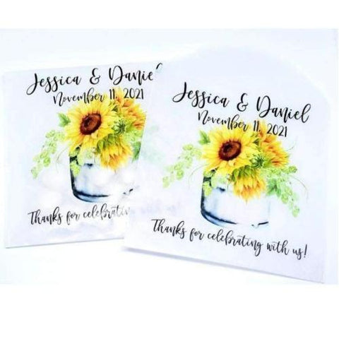 personalized sunflower favor bags