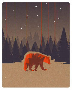 Bear In The Woods Print (8 X 10)