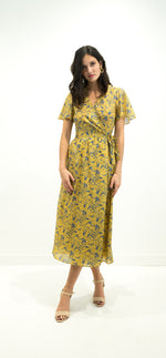 Load image into Gallery viewer, Yellow & Blue Floral Dress