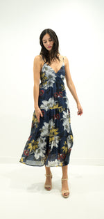 Load image into Gallery viewer, Navy Floral Sleeveless Dress