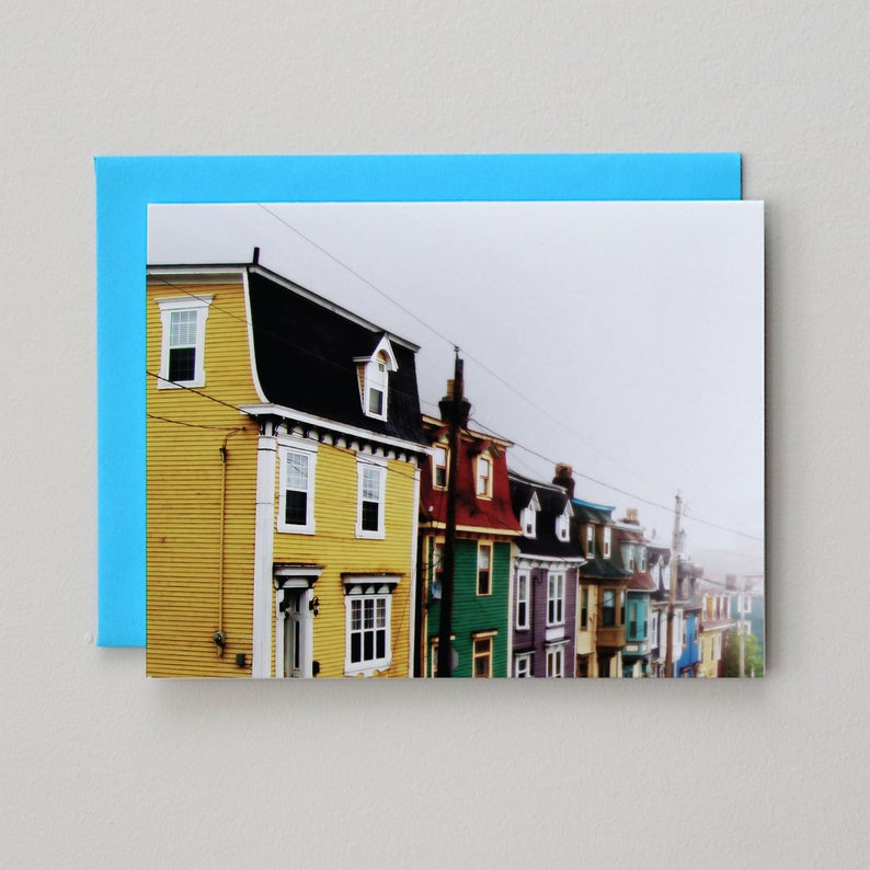 Painted Houses Foggy Day Card