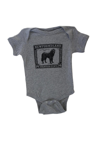 Grey Baby Onesie Dog Stamp | Newfoundland | Johnny Ruth