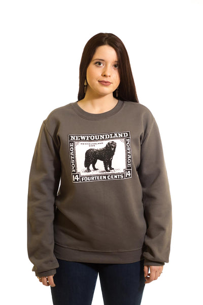 Women's Grey Sweatshirt Dog Stamp| Newfoundland | Johnny Ruth