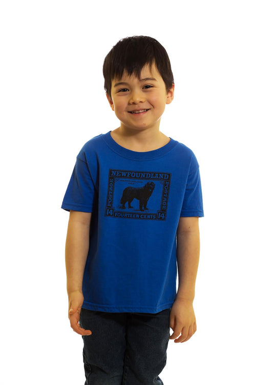 Kids Blue Dog Stamp T-Shirt | Newfoundland | Johnny Ruth