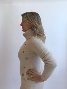 Solar Hearts Cowl Neck Sweater