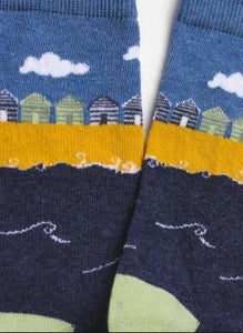 Beach Hut Scene Socks