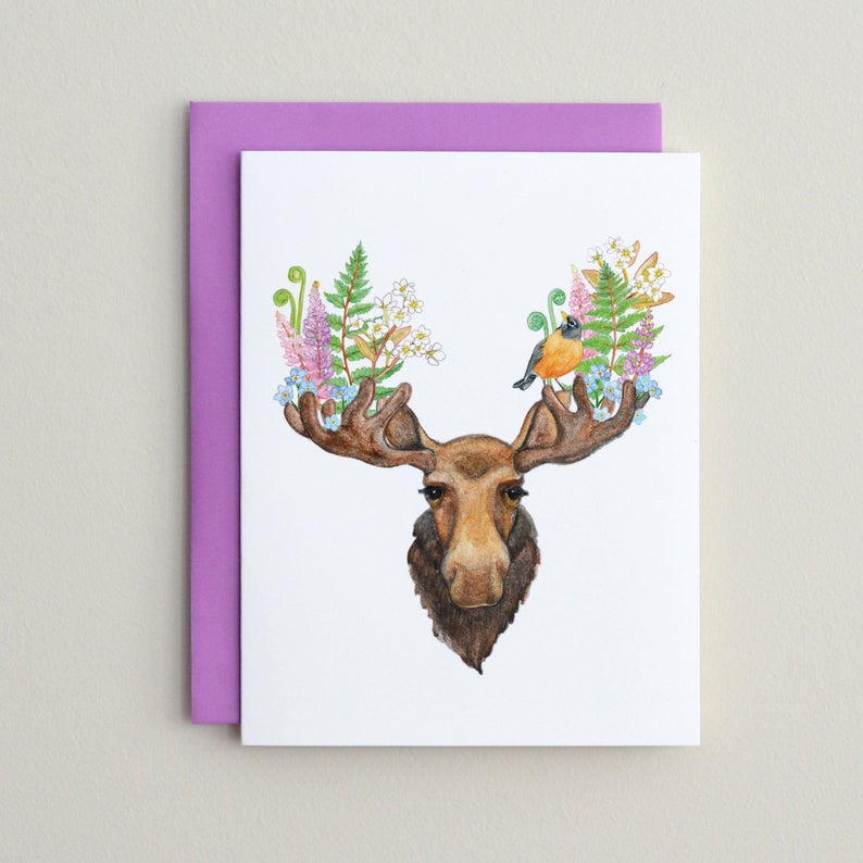 Moose and Robin Card